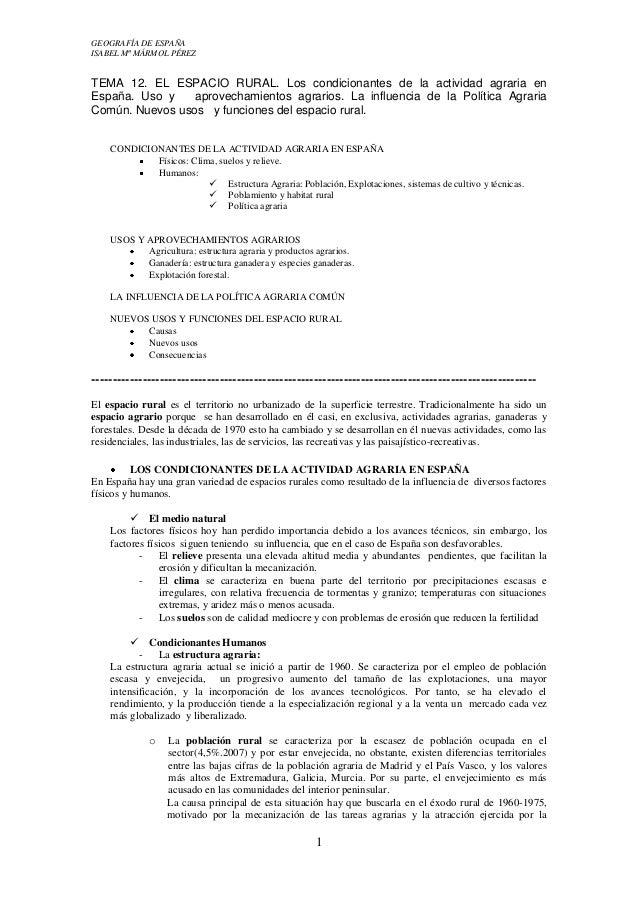 GEOGRAFÍA DE ESPAÑA ISABEL Mª MÁRMOL PÉREZ  TEMA 12. EL ESPACIO RURAL. Los condicionantes de la actividad agraria en Españ...
