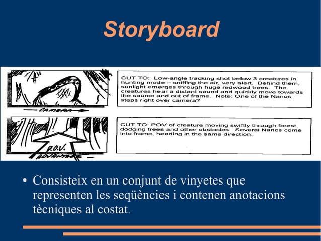 Storyboard ● Consisteix en un conjunt de vinyetes que representen les seqüències i contenen anotacions tècniques al costat.