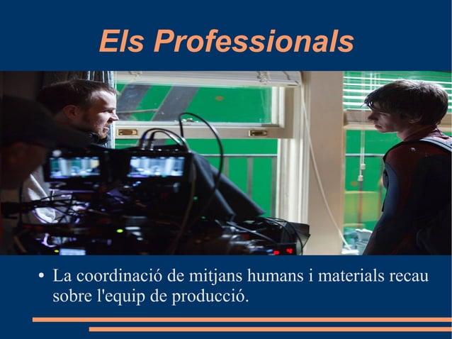 Els Professionals ● La coordinació de mitjans humans i materials recau sobre l'equip de producció.