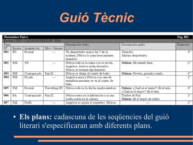 Guió Tècnic ● Els plans: cadascuna de les seqüencies del guió literari s'especificaran amb diferents plans.