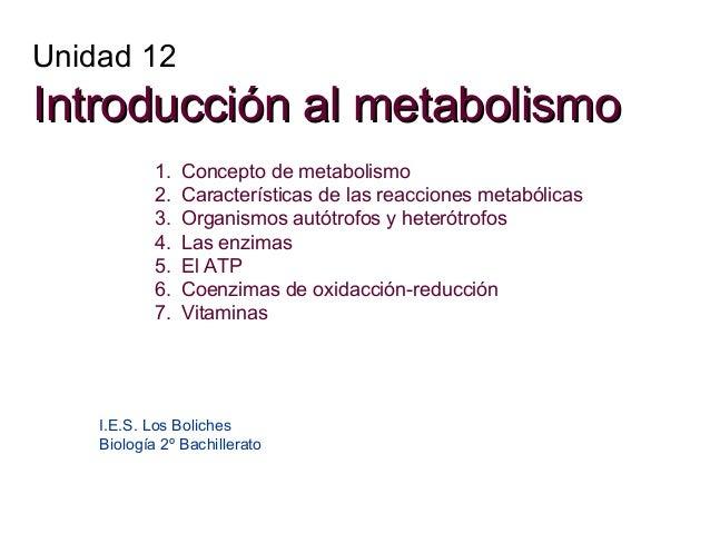 Unidad 12  Introducción al metabolismo 1. 2. 3. 4. 5. 6. 7.  Concepto de metabolismo Características de las reacciones met...