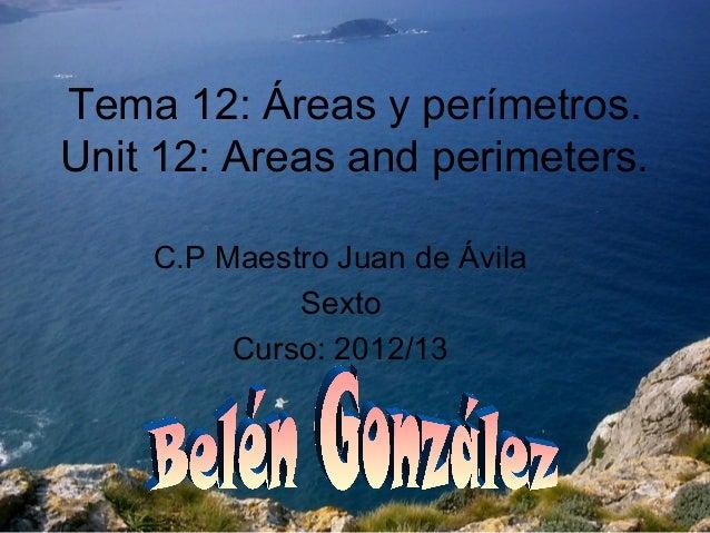Tema 12: Áreas y perímetros.Unit 12: Areas and perimeters.    C.P Maestro Juan de Ávila             Sexto         Curso: 2...