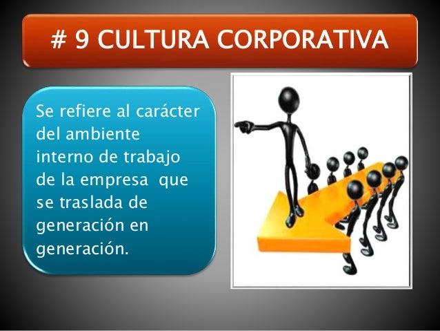 Se refiere al carácter del ambiente interno de trabajo de la empresa que se traslada de generación en generación. # 9 CULT...