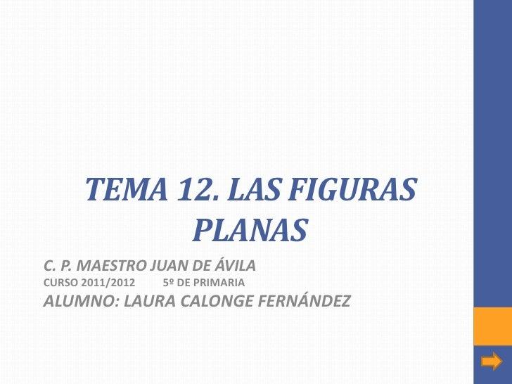 TEMA 12. LAS FIGURAS            PLANASC. P. MAESTRO JUAN DE ÁVILACURSO 2011/2012   5º DE PRIMARIAALUMNO: LAURA CALONGE FER...