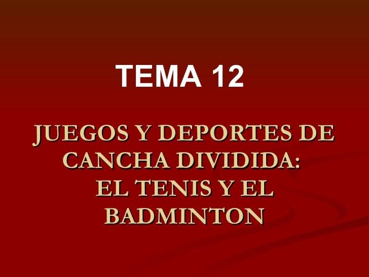 JUEGOS Y DEPORTES DE CANCHA DIVIDIDA:  EL TENIS Y EL BADMINTON TEMA 12