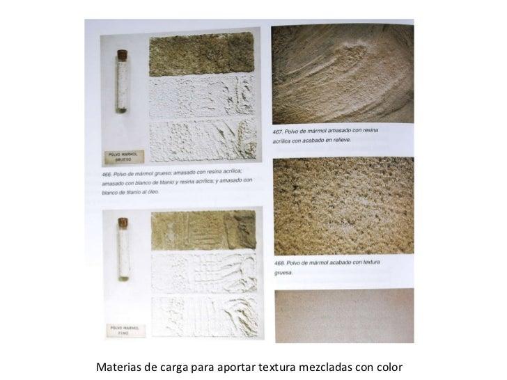 Materias de carga para aportar textura mezcladas con color
