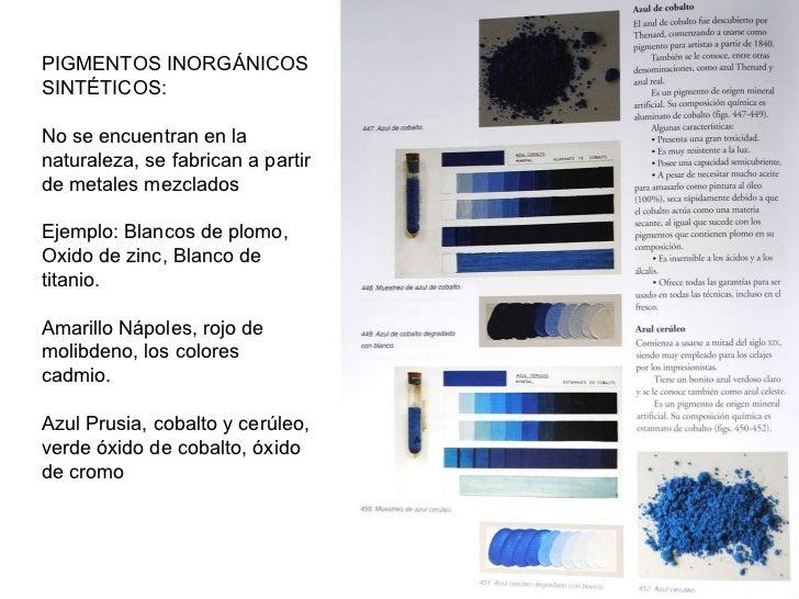 PIGMENTOS INORGÁNICOS SINTÉTICOS: No se encuentran en la naturaleza, se fabrican a partir de metales mezclados Ejemplo: Bl...