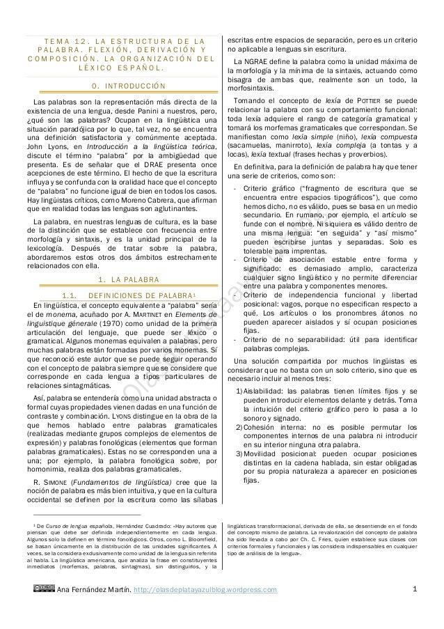 Ana Fernández Martín. http://olasdeplatayazulblog.wordpress.com 1 T E M A 1 2 . L A E S T R U C T U R A D E L A P A L A B ...