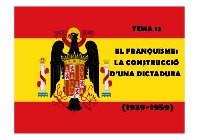 TEMA 13EL FRANQUISME:LA CONSTRUCCIÓD'UNA DICTADURA(1939-1959)