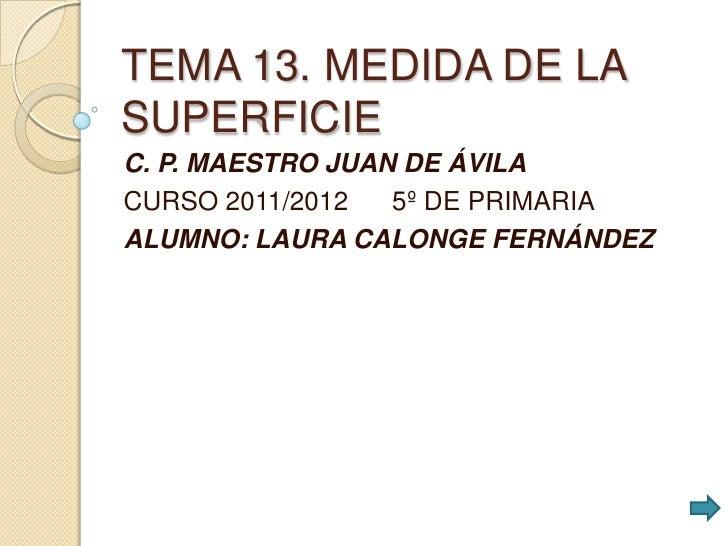 TEMA 13. MEDIDA DE LASUPERFICIEC. P. MAESTRO JUAN DE ÁVILACURSO 2011/2012   5º DE PRIMARIAALUMNO: LAURA CALONGE FERNÁNDEZ