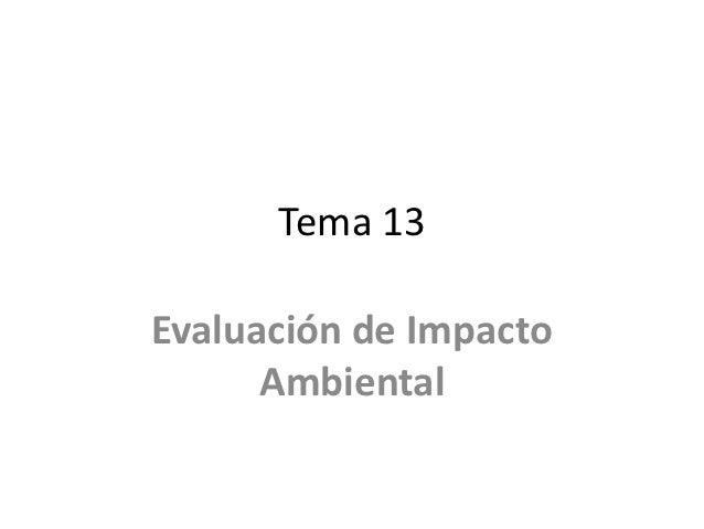 Tema 13Evaluación de Impacto      Ambiental