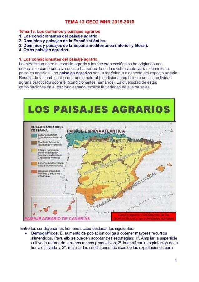 TEMA 13 GEO2 MHR 2015-2016 Tema 13. Los dominios y paisajes agrarios 1. Los condicionantes del paisaje agrario. 2. Dominio...