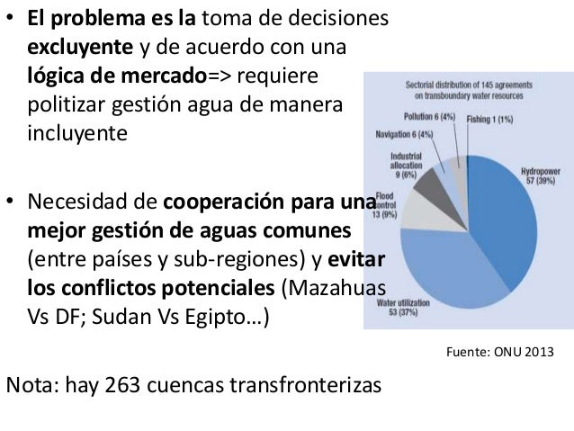 • El problema es la toma de decisiones excluyente y de acuerdo con una lógica de mercado=> requiere politizar gestión agua...