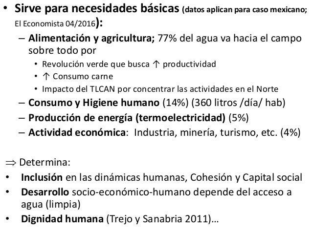 • Sirve para necesidades básicas (datos aplican para caso mexicano; El Economista 04/2016): – Alimentación y agricultura; ...