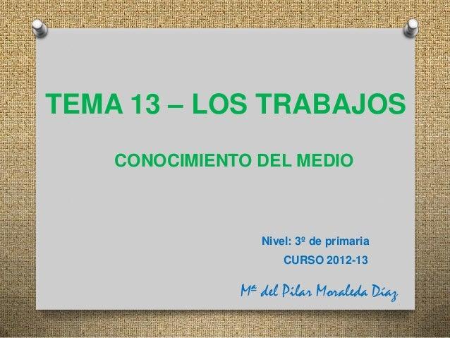 TEMA 13 – LOS TRABAJOS    CONOCIMIENTO DEL MEDIO                  Nivel: 3º de primaria                      CURSO 2012-13...