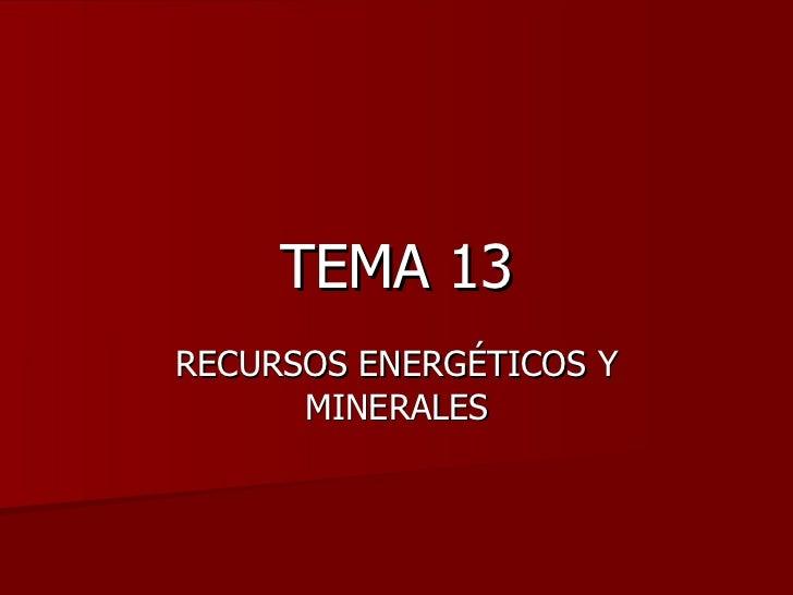 TEMA 13 RECURSOS ENERGÉTICOS Y MINERALES