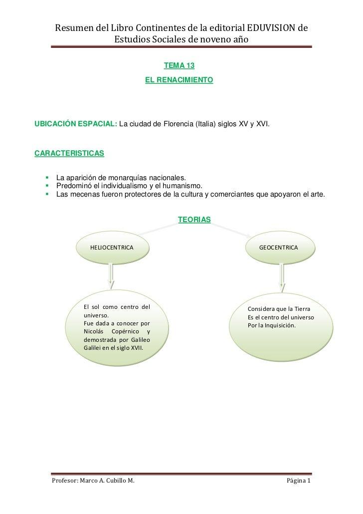 Resumen del Libro Continentes de la editorial EDUVISION de                     Estudios Sociales de noveno año            ...
