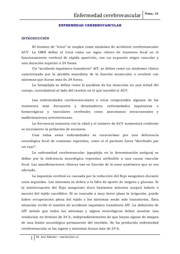 Tema.- 14                                      Enfermedad cerebrovascular                          ENFERMEDAD CER...