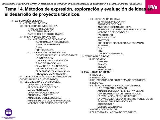 CONTENIDOS DISCIPLINARES PARA LA MATERIA DE TECNOLOGÍA EN LA ESPECIALIDAD DE SECUNDARIA Y BACHILLERATO DE TECNOLOGÍA  Tema...