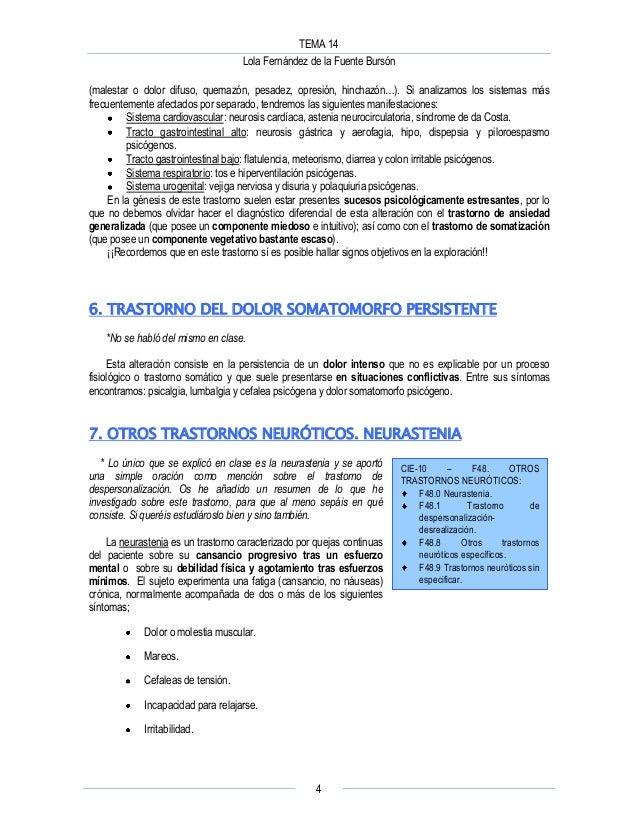 TEMA 14 Lola Fernández de la Fuente Bursón 4 (malestar o dolor difuso, quemazón, pesadez, opresión, hinchazón…). Si analiz...