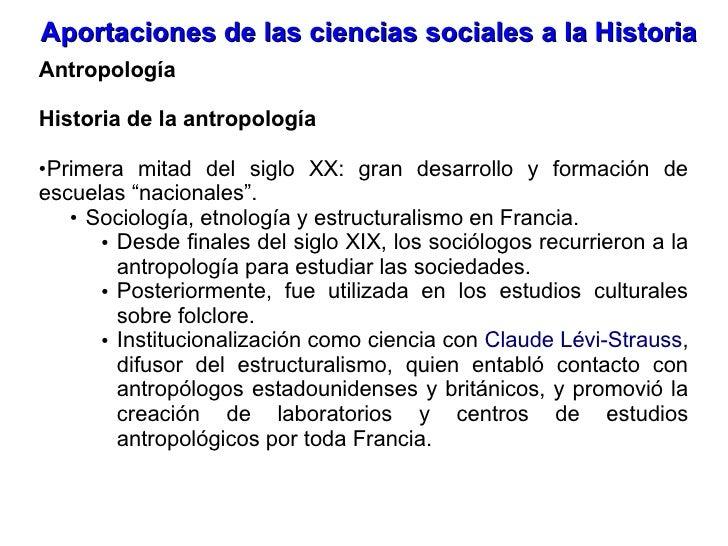 Aportaciones De Las Ciencias Sociales A La Historia