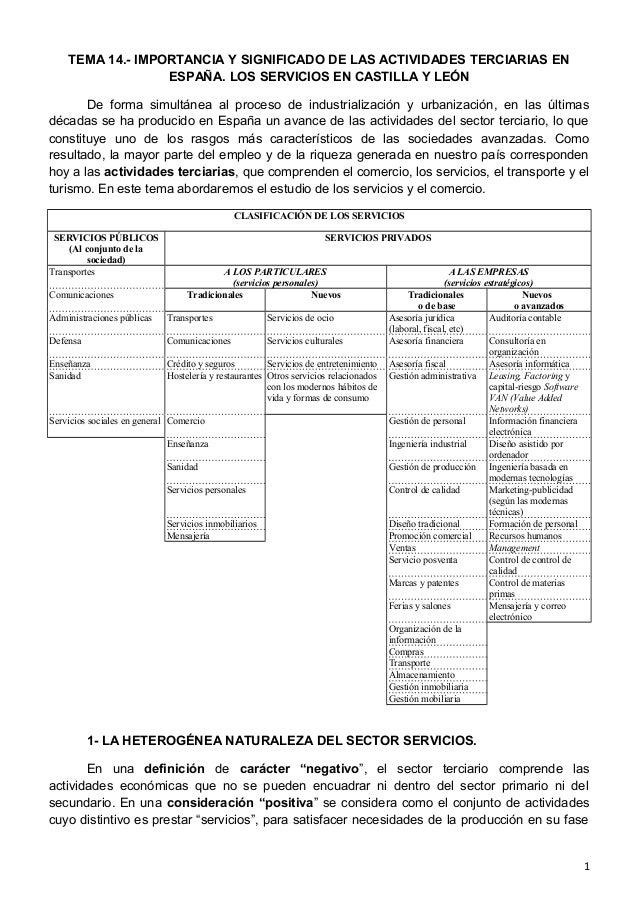 TEMA 14.- IMPORTANCIA Y SIGNIFICADO DE LAS ACTIVIDADES TERCIARIAS EN ESPAÑA. LOS SERVICIOS EN CASTILLA Y LEÓN De forma sim...