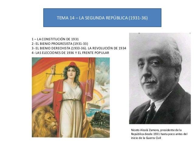 TEMA 14 – LA SEGUNDA REPÚBLICA (1931-36)1 – LA CONSTITUCIÓN DE 19312- EL BIENIO PROGRESISTA (1931-33)3- EL BIENIO DERECHIS...