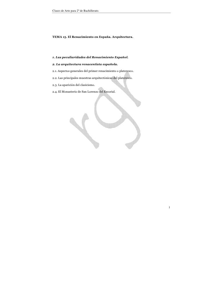 Tema 15. Renacimiento español. arquitectura.
