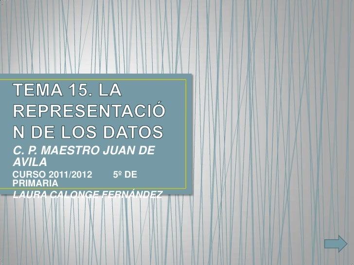 C. P. MAESTRO JUAN DEAVILACURSO 2011/2012   5º DEPRIMARIALAURA CALONGE FERNÁNDEZ
