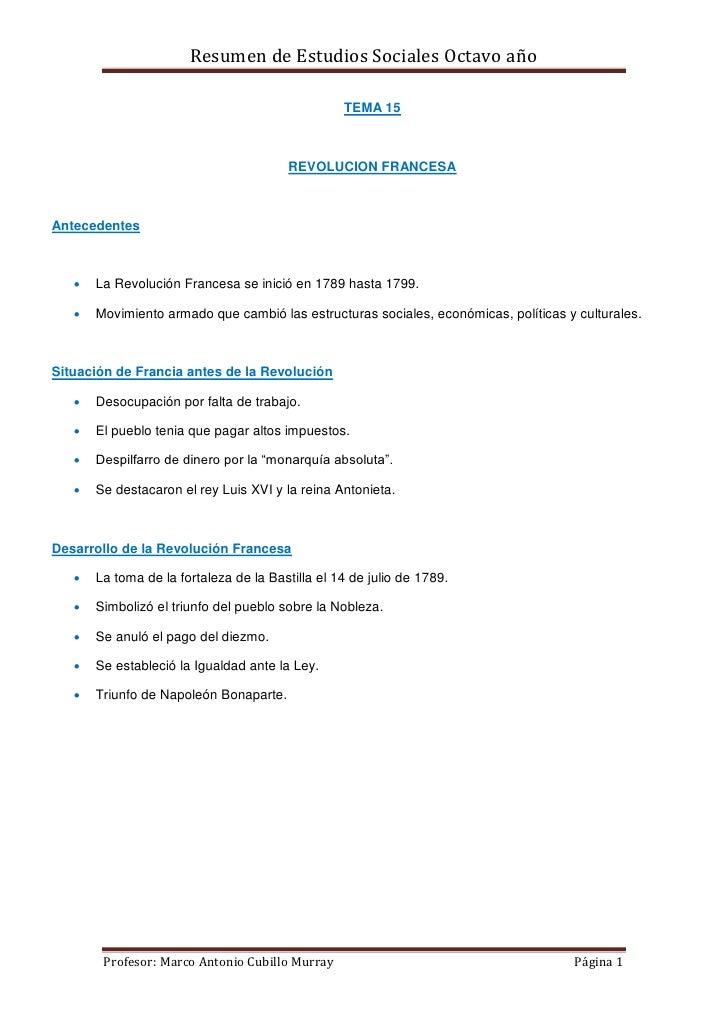 Resumen de Estudios Sociales Octavo año                                                  TEMA 15                          ...