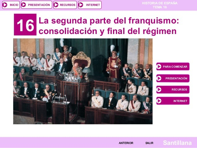 HISTORIA DE ESPAÑA TEMA 16 RECURSOS INTERNETPRESENTACIÓN Santillana INICIO SALIRSALIRANTERIORANTERIOR 16 La segunda parte ...