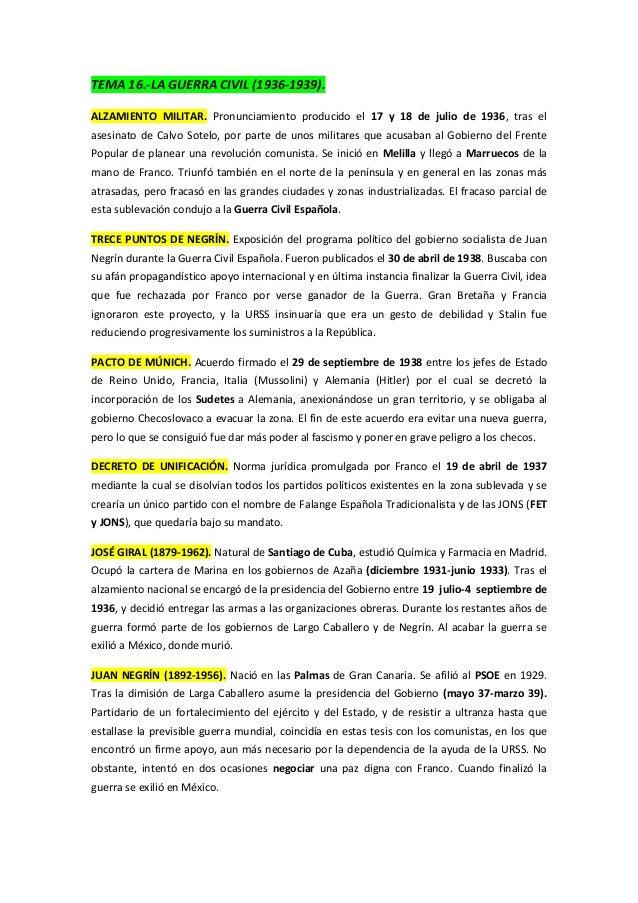 TEMA 16.-LA GUERRA CIVIL (1936-1939).ALZAMIENTO MILITAR. Pronunciamiento producido el 17 y 18 de julio de 1936, tras elase...