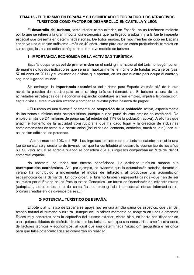 TEMA 16.- EL TURISMO EN ESPAÑA Y SU SIGNIFICADO GEOGRÁFICO. LOS ATRACTIVOS TURÍSTICOS COMO FACTOR DE DESARROLLO EN CASTILL...