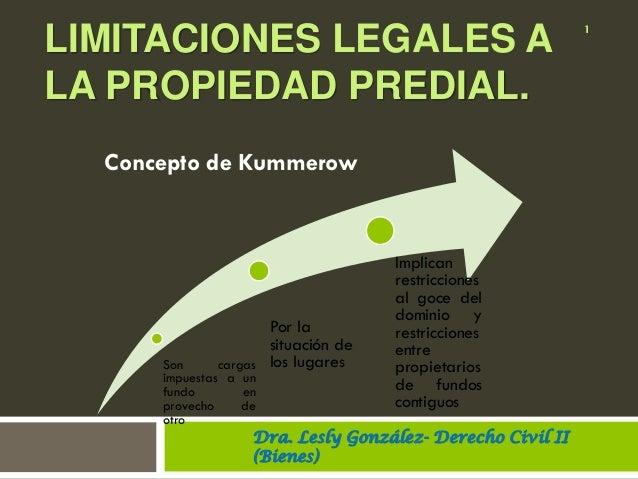 LIMITACIONES LEGALES A LA PROPIEDAD PREDIAL. Son cargas impuestas a un fundo en provecho de otro Por la situación de los l...
