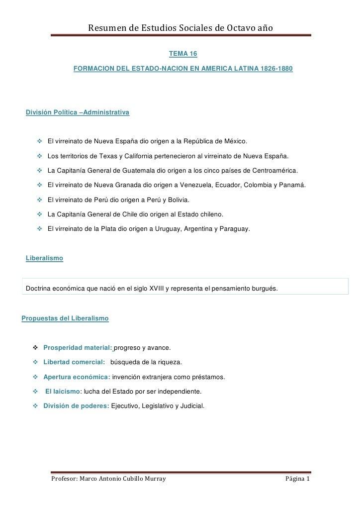 Resumen de Estudios Sociales de Octavo año                                                  TEMA 16                FORMACI...