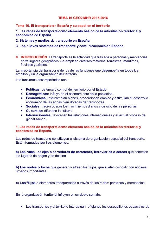 TEMA 16 GEO2 MHR 2015-2016 Tema 16. El transporte en España y su papel en el territorio 1. Las redes de transporte como el...