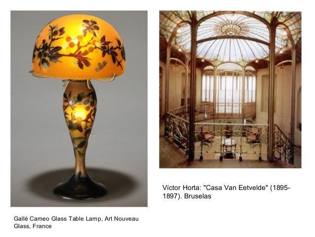 "Gallé Cameo Glass Table Lamp, Art Nouveau Glass, France Víctor Horta: ""Casa Van Eetvelde"" (1895- 1897). Bruselas"