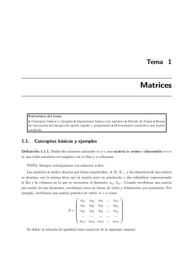 Tema 1 MatricesMatrices Estructura del tema. • Conceptos b´asicos y ejemplos • Operaciones b´asicas con matrices • M´etodo...