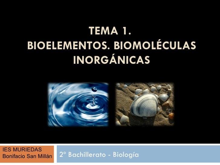 TEMA 1.         BIOELEMENTOS. BIOMOLÉCULAS                INORGÁNICASIES MURIEDASBonifacio San Millán   2º Bachillerato - ...