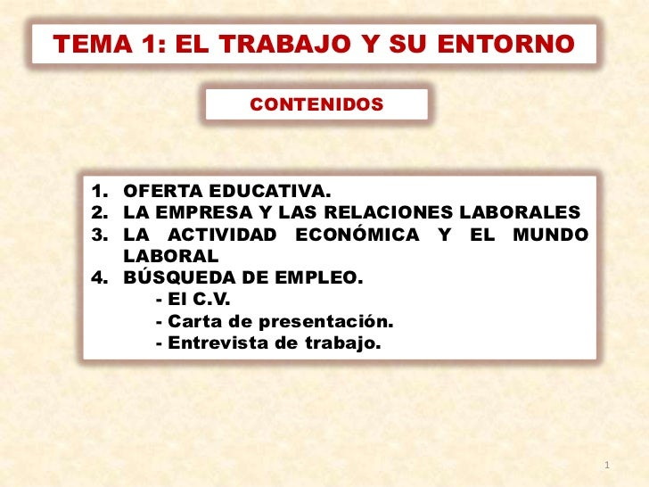 TEMA 1: EL TRABAJO Y SU ENTORNO              CONTENIDOS  1. OFERTA EDUCATIVA.  2. LA EMPRESA Y LAS RELACIONES LABORALES  3...