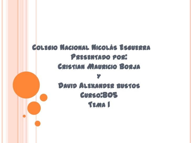 COLEGIO NACIONAL NICOLÁS ESGUERRA           PRESENTADO POR:       CRISTIAN MAURICIO BORJA                  Y       DAVID A...