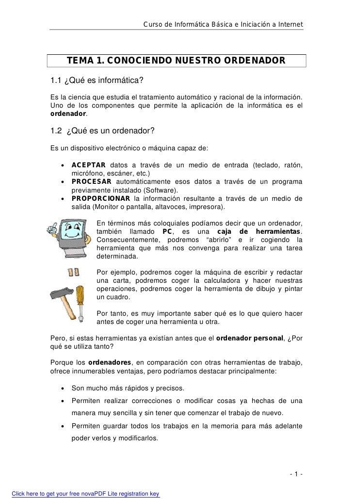 Curso de Informática Básica e Iniciación a Internet                            TEMA 1. CONOCIENDO NUESTRO ORDENADOR       ...