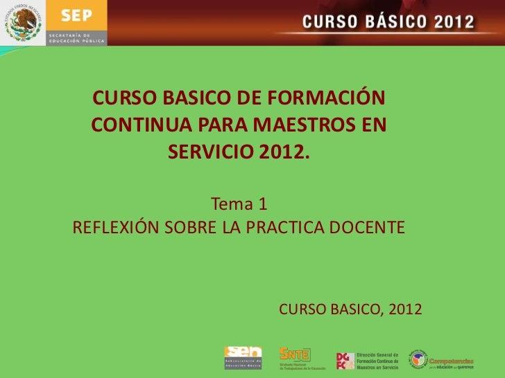 CURSO BASICO DE FORMACIÓN CONTINUA PARA MAESTROS EN       SERVICIO 2012.              Tema 1REFLEXIÓN SOBRE LA PRACTICA DO...