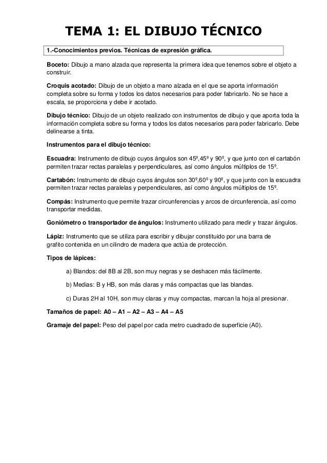TEMA 1: EL DIBUJO TÉCNICO 1.-Conocimientos previos. Técnicas de expresión gráfica. Boceto: Dibujo a mano alzada que repres...
