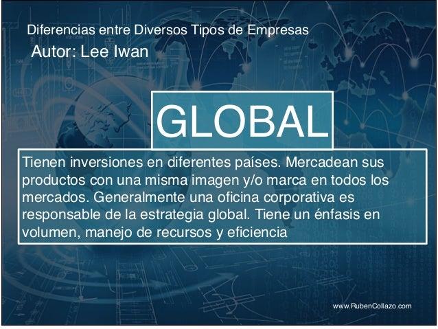 Diferencias entre Diversos Tipos de Empresas www.RubenCollazo.com Autor: Lee Iwan GLOBAL Tienen inversiones en diferentes ...