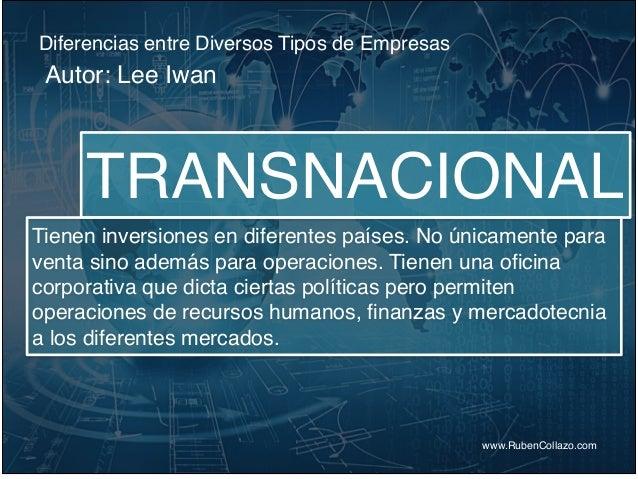 Diferencias entre Diversos Tipos de Empresas www.RubenCollazo.com Autor: Lee Iwan TRANSNACIONAL Tienen inversiones en dife...