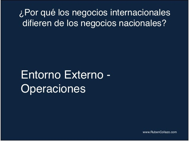 ¿Por qué los negocios internacionales difieren de los negocios nacionales? www.RubenCollazo.com Entorno Externo - Operacio...