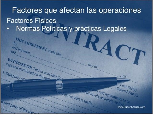 Factores que afectan las operaciones www.RubenCollazo.com Factores Físicos:! • Normas Políticas y prácticas Legales