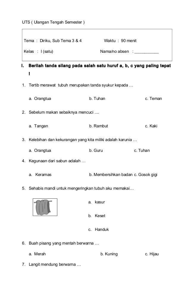 Tema 1 Diriku Kelas 1 Sd Subtema 3 Dan 4