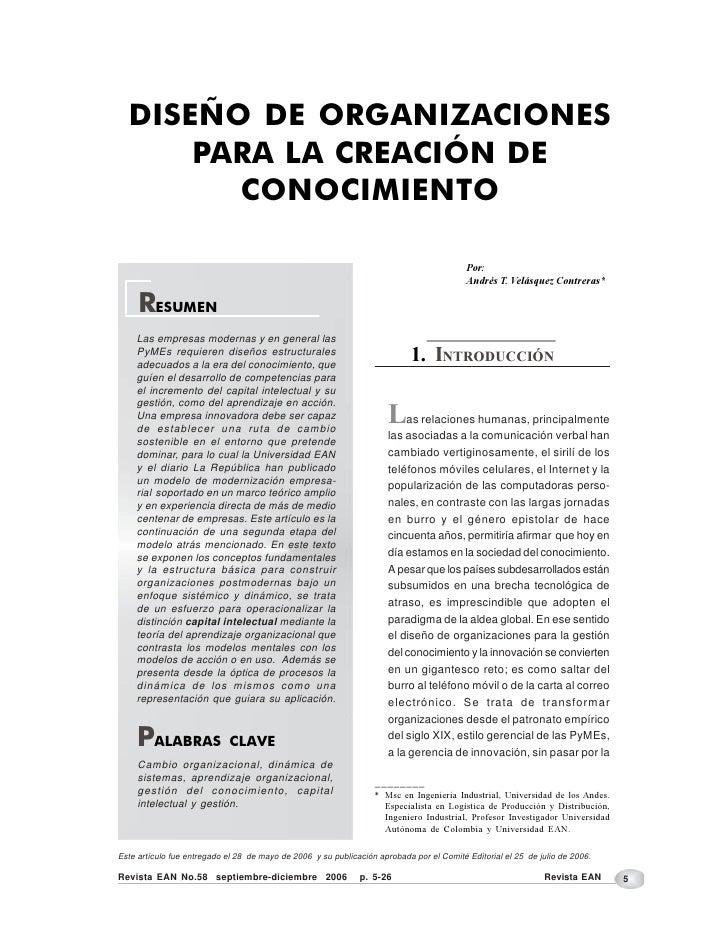 DISEÑO DE ORGANIZACIONES      PARA LA CREACIÓN DE        CONOCIMIENTO                                                     ...